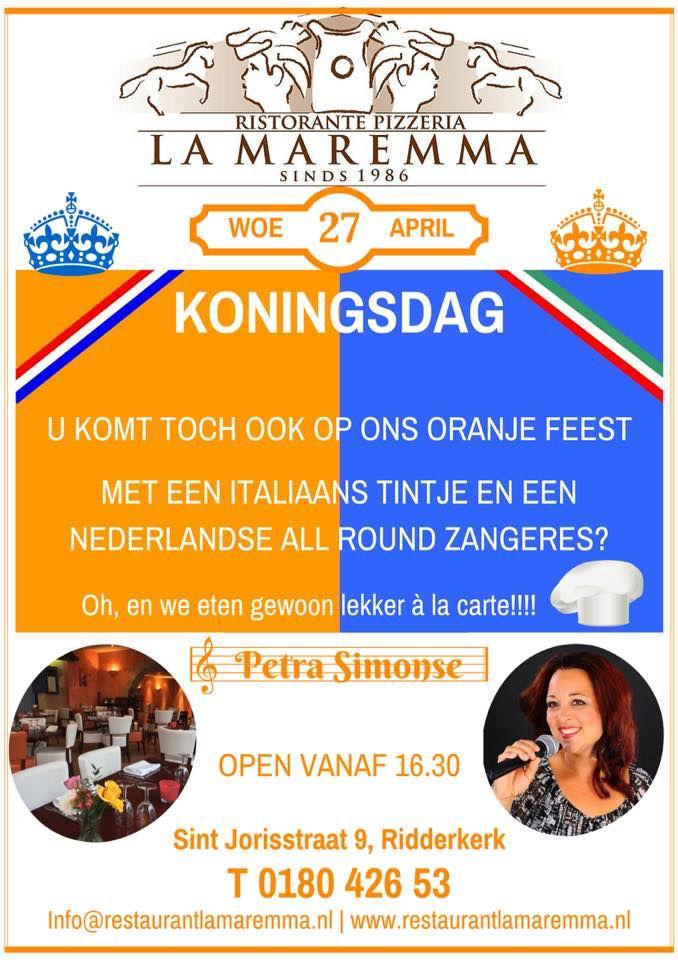 Wij kleuren oranje op Koningsdag en vieren feest met Italiaans eten en live muziek van Petra Simonse all round zangeres