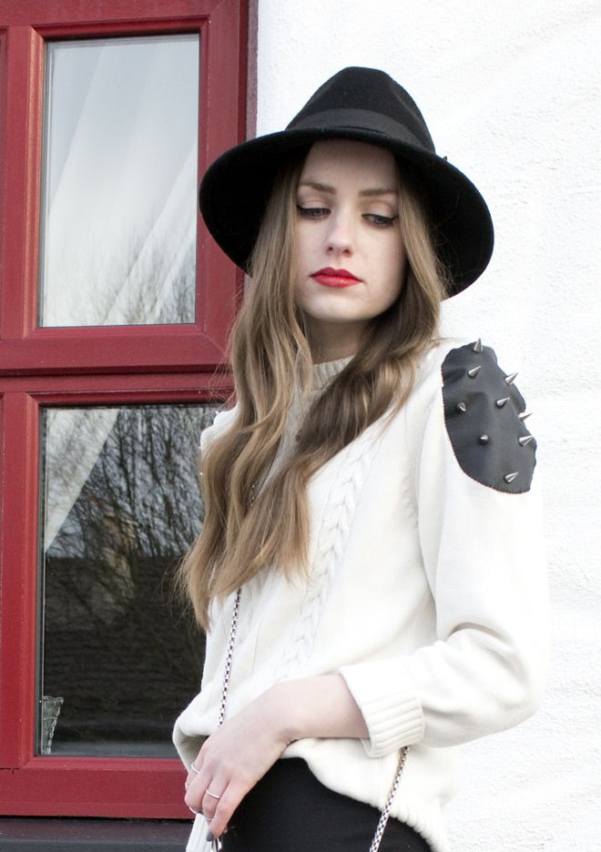 STUDS ON THE SOLES OF HER SHOES: DIY Studded Shoulder Jumper