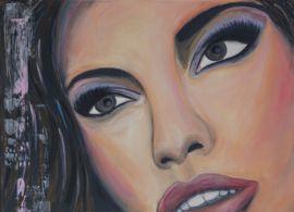 Close up schilderij van een mexicaanse vrouw