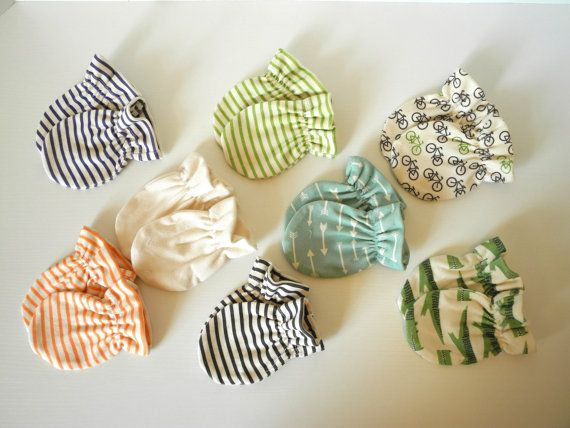 Organic baby mitten, set of 3 pairs of your choices, cotton knit mitten, Baby gloves via Etsy