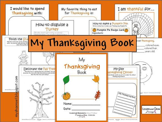 "This Thanksgiving book is full of Fall fun and perfect for kids of all ages. What a fun way to record memories, and be creative. There are pages like ""I am Thakful for..."", ""How to make a Pumpkin Pie"", ""Finish the Scarecrow"", ""My Silly Thanksviging Dinner"", and more!"