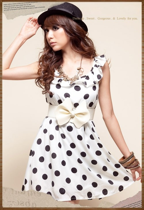 Sweet Dot Lotus Leaf Bowknot Waist Shaping Dress White: Dot Lotus, Polka Dots, Dot History, Fashion, Sexy Dresses, Things To, Dresses For Teens