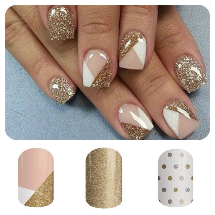 "Get this look with Jamberry using ""Obsessed"", ""Gold Dust"" and ""Icy Gold and Silver Polka"" wraps at http://kellypearson.jamberrynails.net/product/obsessed"