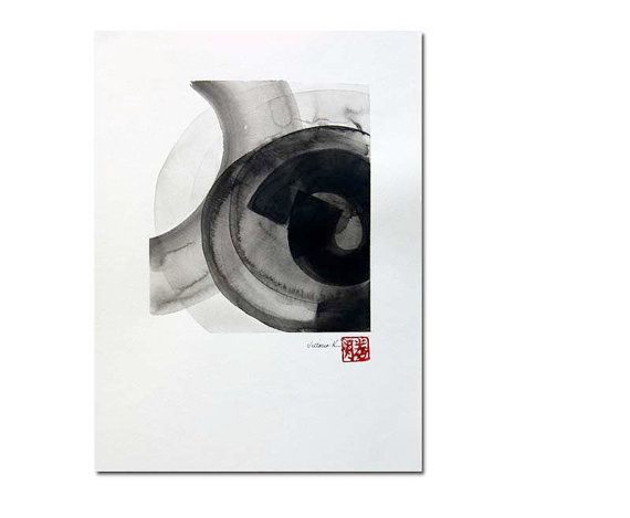 Original black on white ink wash 10 painting zen by VictoriaKloch