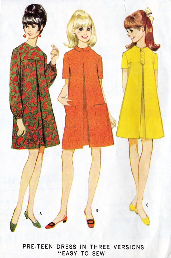 1960s Girls pre teen A line dress. I love the CF front box pleat detail.