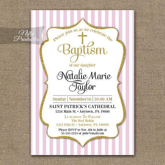 Girls Pink Baptism Invitations - Printable Pink Gold ...