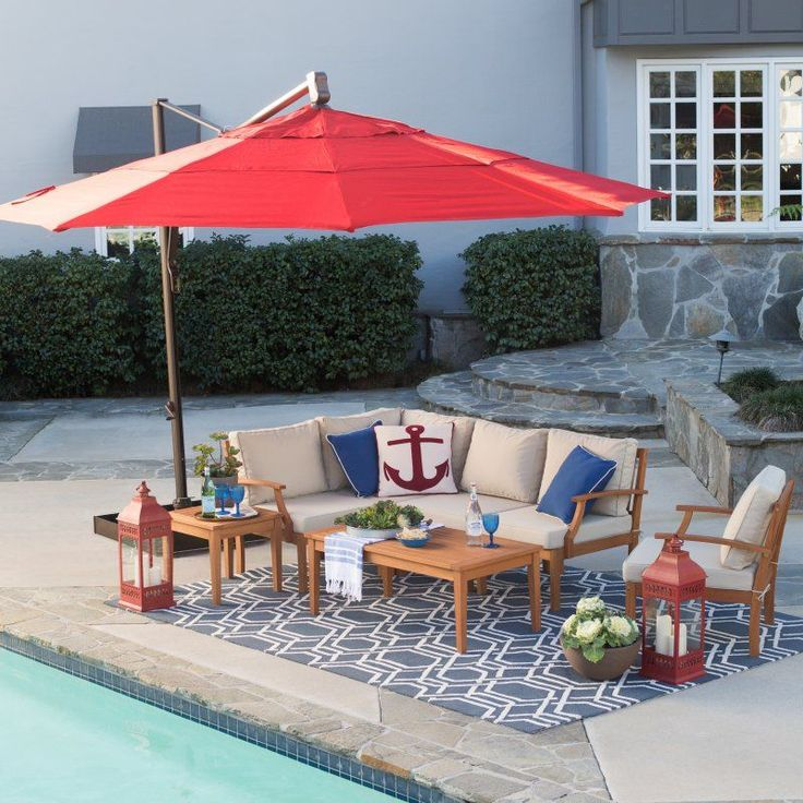 Belham Living 13 Ft. Rotating Offset Umbrella With Tilt And Base   RE116 . Outdoor  Patio ...
