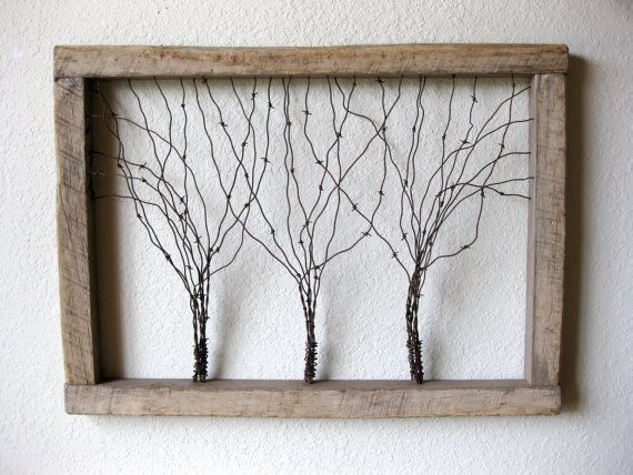 Large Reclaimed Barn Wood and Barbed Wire Tree Wall Art ~ Three Framed Barbed…
