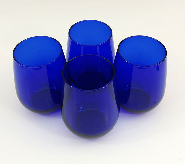 "Cobalt Blue Set of 4 Stemless Glass Wine Glasses 4-1/2"" Tall #Unbranded"