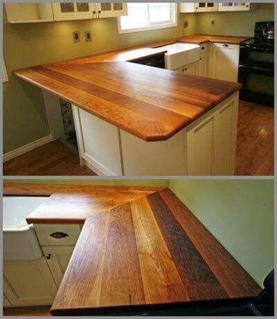 Beautiful reclaimed wood countertops