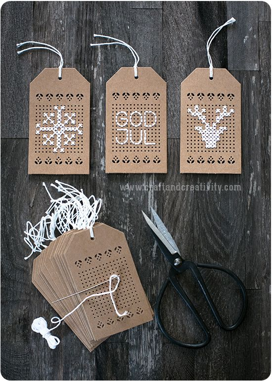 Diy cross stitch christmas tags