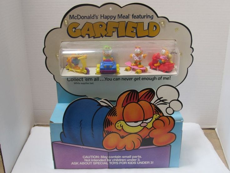 McDonalds Happy Meal Toy Display Garfield 1989 Collectible Rare All 4 Toys  | eBay