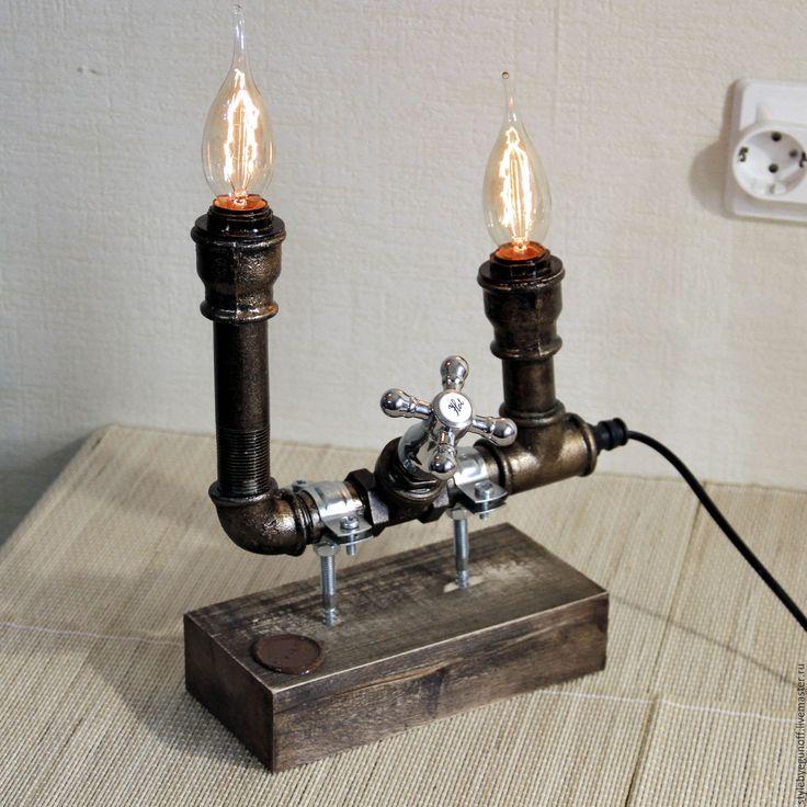Купить Козерог (Capricorn) - настольная лампа, винтажный стиль, индустриальный стиль, лампа, ручная работа