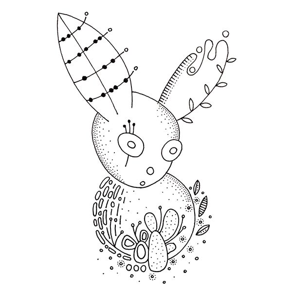 © Mam'Osier Pendrawing Of A Weird Crazy Rabbit Animal