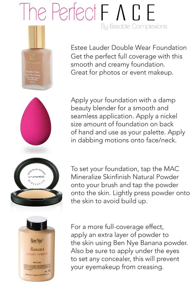 "KISSABLE- Products used:     Estee Lauder Foundation ""Dawn"". MAC Studio Fix concealer NC20. Beauty Blender Sponge. MAC Mineralize Skin finish Natural ""Medium Plus"". Ben Nye Banana Powder. Urban Decay ""Toasted"" Bronzer"