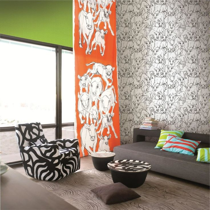 Home decoration, Decorating Colorful Living Room Interior With Animal Wallpaper: 5 steps of decorating interior with wallpaper