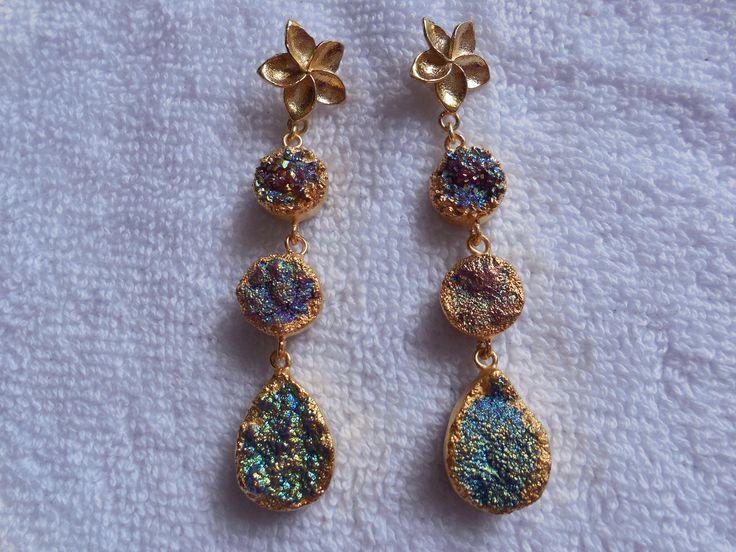 Natural Druzy Earring,24K Gold edge Electroplated Ear dangle,Geode Druzy Gemstone Earring,Titanium coated druzy earring,ear jewelry,Boho by InternationalByBeads on Etsy