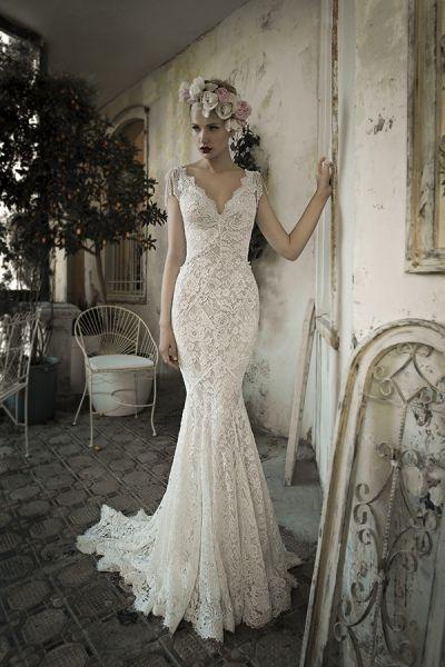 Vestido de novia romántico, línea sirena, realizado encaje