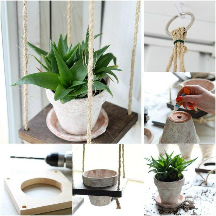 porte plantes -suspension-pots-fleurs-corde-fibres-naturelles-planches-bois