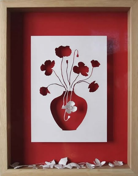 quadro feito com papel cortado.