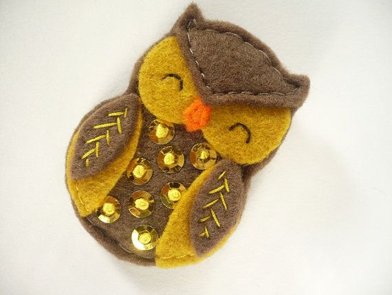 Handmade owl brooch brown and mustard felt embroidered  with french knot and sequins