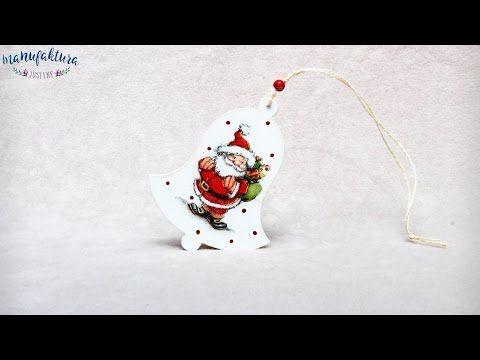 Świąteczny decoupage – dzwoneczek – Manufaktura Justyny – artykuły do rękodzieła i ozdoby hand made