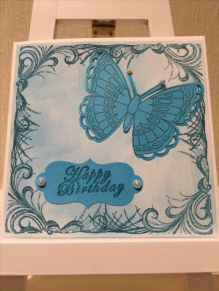 stamping using mististampingtool for the border and butterfly