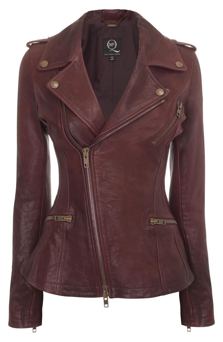 Oxblood Leather Asymmetric Zip Biker Jacket