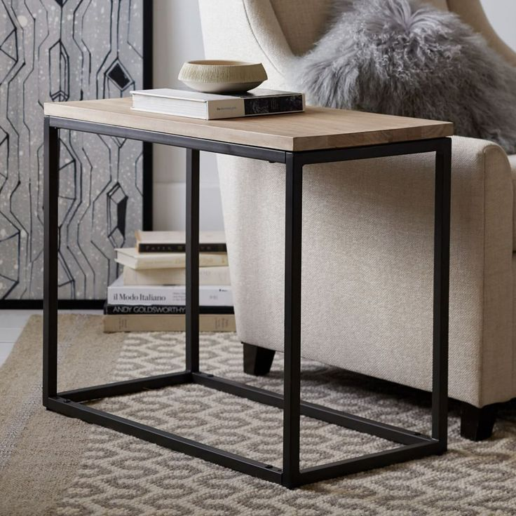 Fantastic Design Of The Black Iron Legs Added With Brown Wooden Tops As The Narrow Side Table On The Grey Rugs Ideas