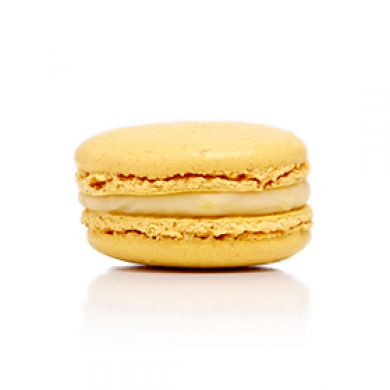 Lemon Macaron. A refreshing lemon white chocolate ganache
