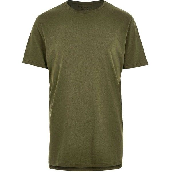 River Island Dark green longline T-shirt ($6.13) ❤ liked on Polyvore featuring men's fashion, men's clothing, men's shirts, men's t-shirts, green, mens short sleeve shirts, mens short sleeve t shirts, mens tall shirts, mens green shirt and mens tall t shirts