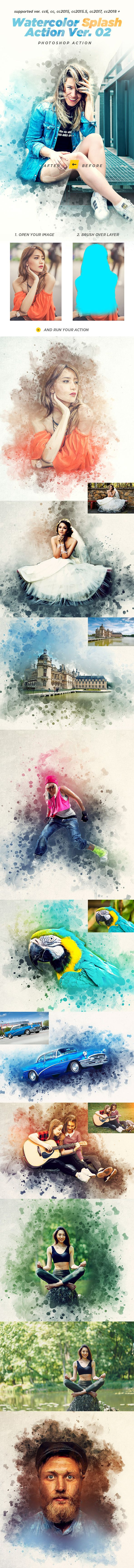 Watercolor Splash Photoshop Action Ver. 02 — Photoshop ATN #canvas #atn • Download ➝ https://graphicriver.net/item/watercolor-splash-photoshop-action-ver-02/21461987?ref=pxcr