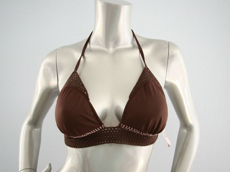 Victorias Secret Brown Crochet & Thick Stitch Triangle Bikini Top  #VictoriasSecret #BikiniTop #Crochet