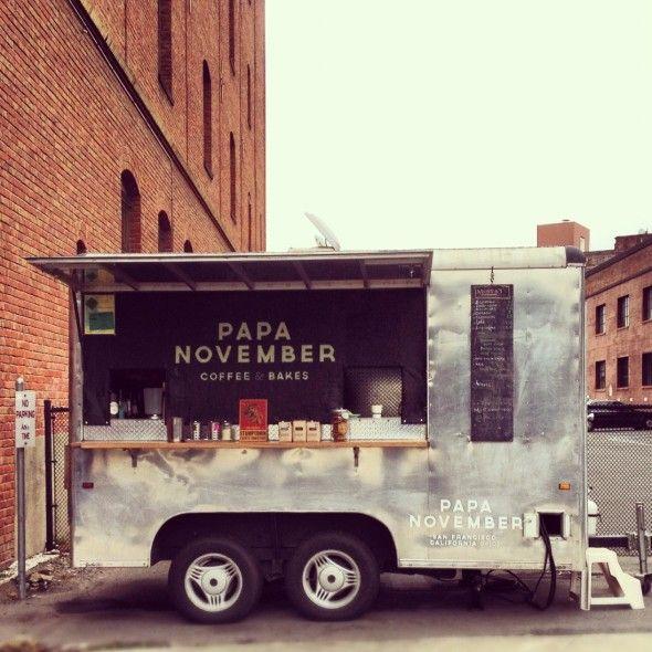 Papa November coffee trailer. Sleek, industrial design.