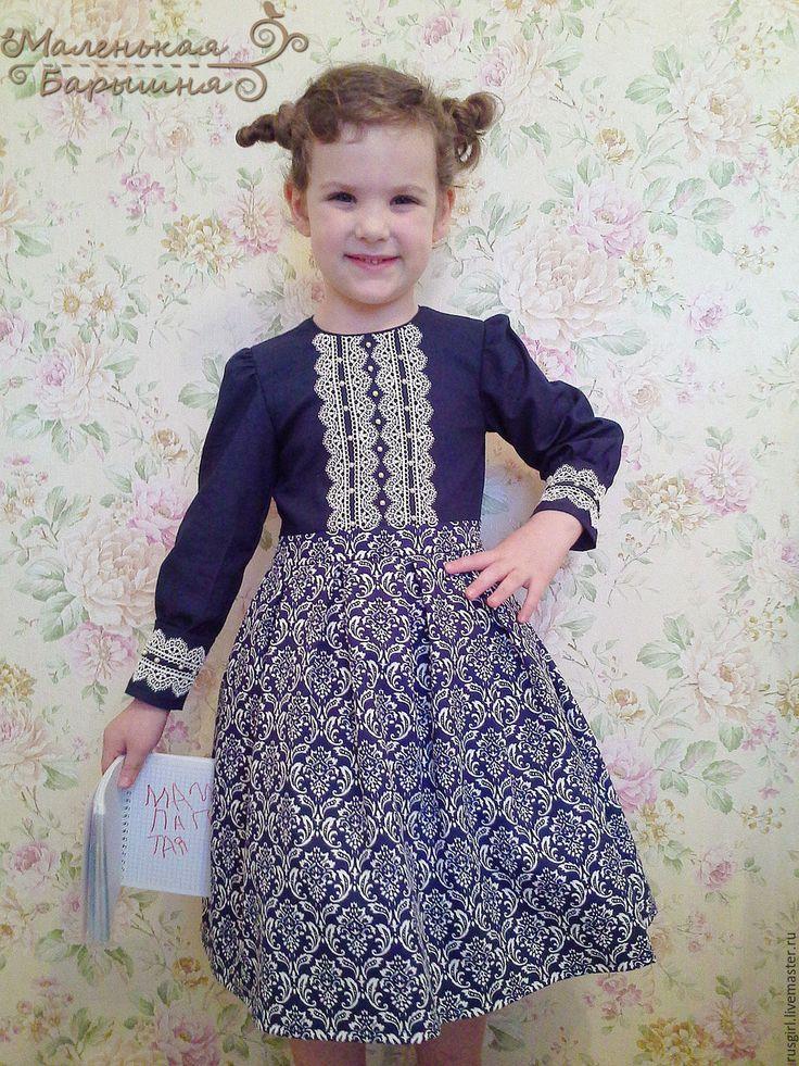 """Купить Платье """"Аннушка"""" для девочки - тёмно-синий, орнамент, узоры, джинсовое платье, нарядное платье"""