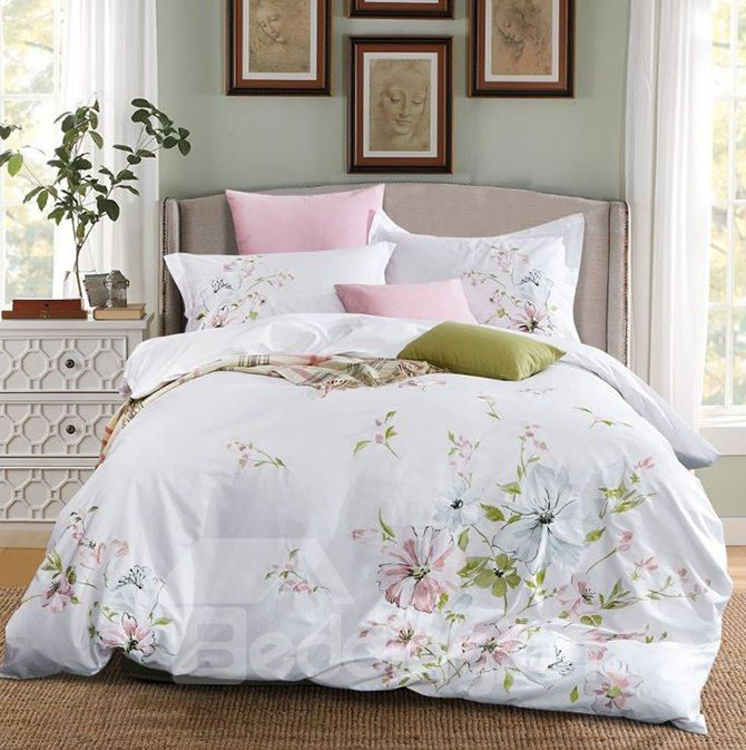 Full Pastoral Style Flower Embroidery White 4 Piece Cotton Bedding Sets Duvet Cover Luxury Bedding Bedding Sets Duvet Bedding