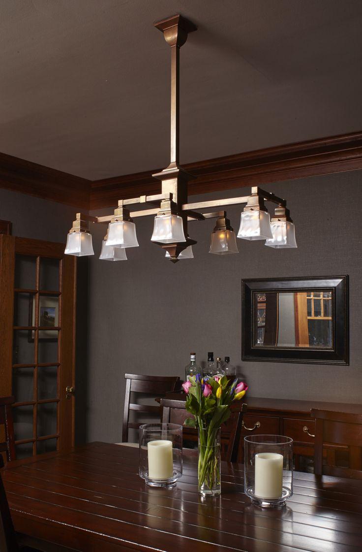 Eight Light Rectangular Chandelier With, Craftsman Lighting Dining Room Chandelier