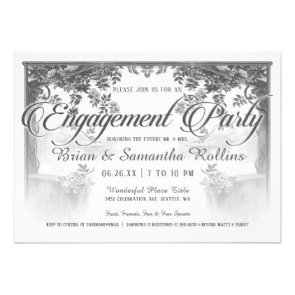 Supreme Vintage Engagement Party Invitations V02 - floral style flower flowers stylish diy personalize
