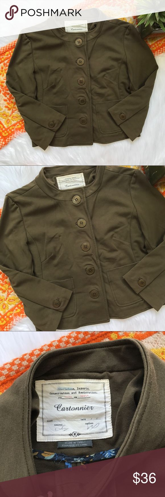 Anthro cartonnier olive green blazer jacket Size medium. In excellent condition, no flaws! Length-18, bust-17.5 pit to pit, has quarter sleeves which is perfect for the fall transition! *** no modeling or trades! ::218 Anthropologie Jackets & Coats Blazers