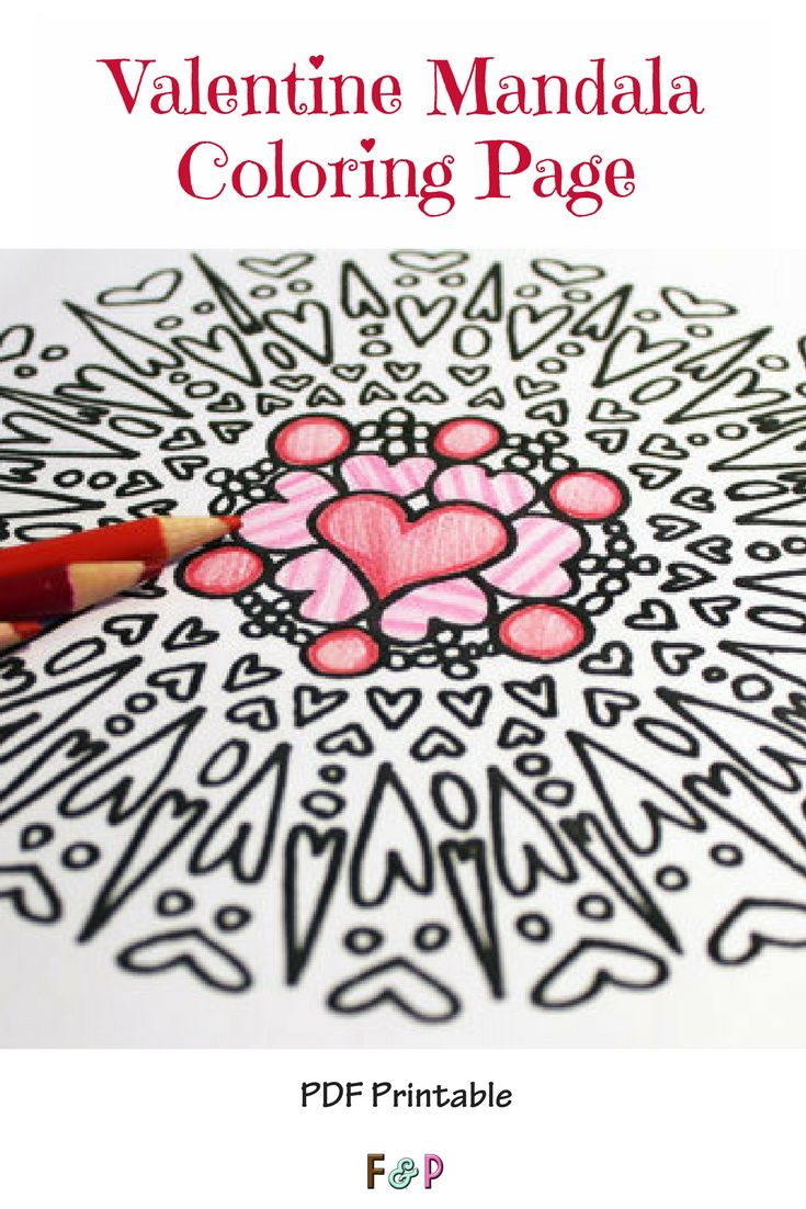 Cute coloring page! I love to color mandalas! #printable #pdfprintable #valentinesday #ad #hearts #coloring #coloringpages #adultcoloring