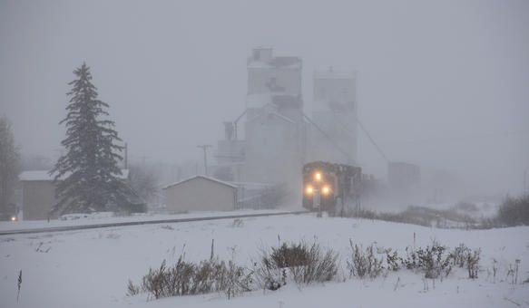 West Bound CP Rail in Winter Storm - Indian Head