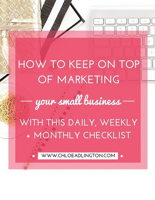 Even if you love 'marketing' it's one of those small business activities  which is a little bit like cleaning the house. You need to keep chipping  away at the tasks on a regular basis, otherwise it all piles up and  requires a huge effort to get back on track!  Today I thought I'd share with you my checklist of the marketing (and  business planning) tasks that help me keep on top of it and might be a  useful starting point for you too:  Daily     * Prioritise 3 - 6 things fro...