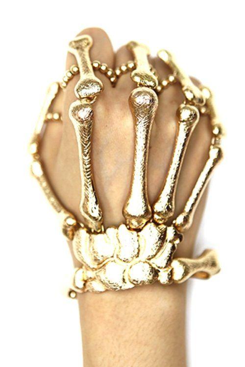 Gold Skeleton Hand Ring Bracelet