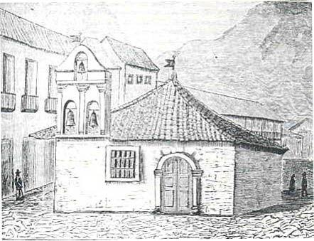 Santafé de Bogotá: una ciudad de iglesias | Capilla del Humilladero, según el grabado de Benjamín Heredia, publicado en el Papel Periódico Ilustrado.