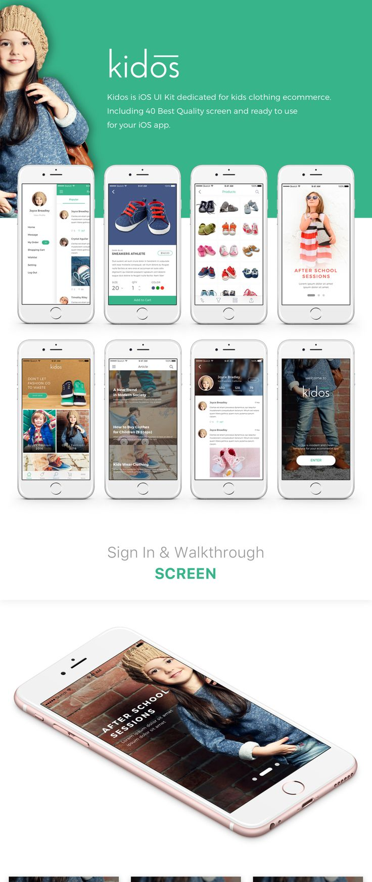 Kidos is the perfect iOS UI Kit dedicated for kid's clothing fashion ecommerce. Kidos iOS UI Kit includes 40 of the best quality iOS mobile screen templates for Photoshop & Sketch. This UI kit is ready to use for your iOS app!