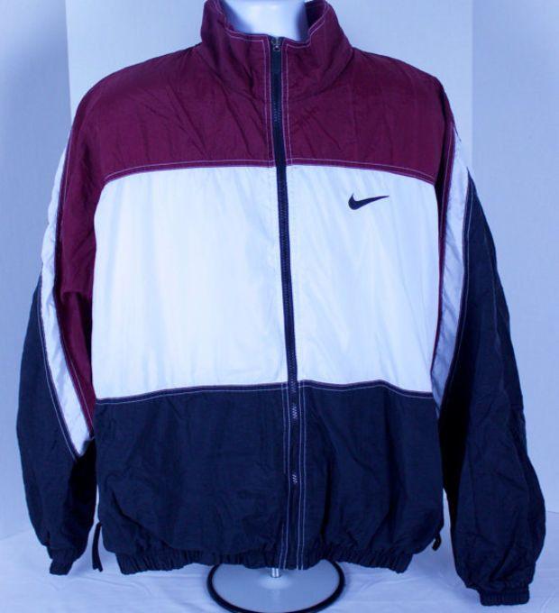 90s Nike Mens Red White Black Nylon Windbreaker Jacket Size XL A&M Aggies