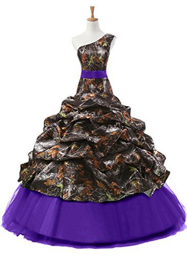 Sunvary Camouflage One Shoulder Ball Gown Prom Quinceanera Dress Floor Length Size 26W Camouflage and Purple * Want additional info? Click on the image.