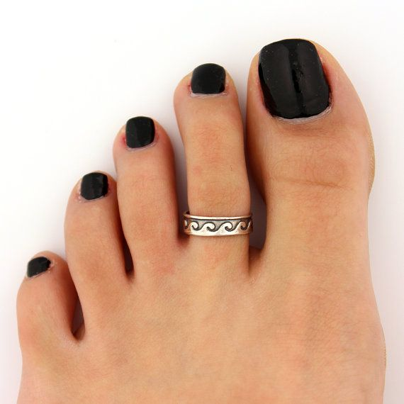 toe ring sterling silver toe ring  Wave design adjustable toe ring (T-74) Also knuckle ring on Etsy, $11.00