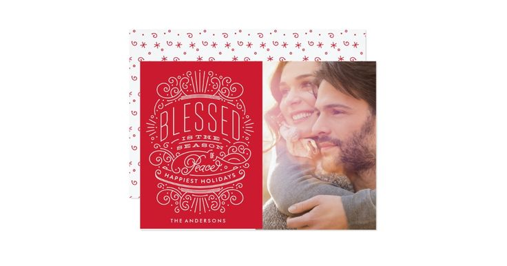 Blessed Season Holiday Christmas Card. Typography, lettering in a beautiful embellished crest-like design. Stars and detail. Red and white.