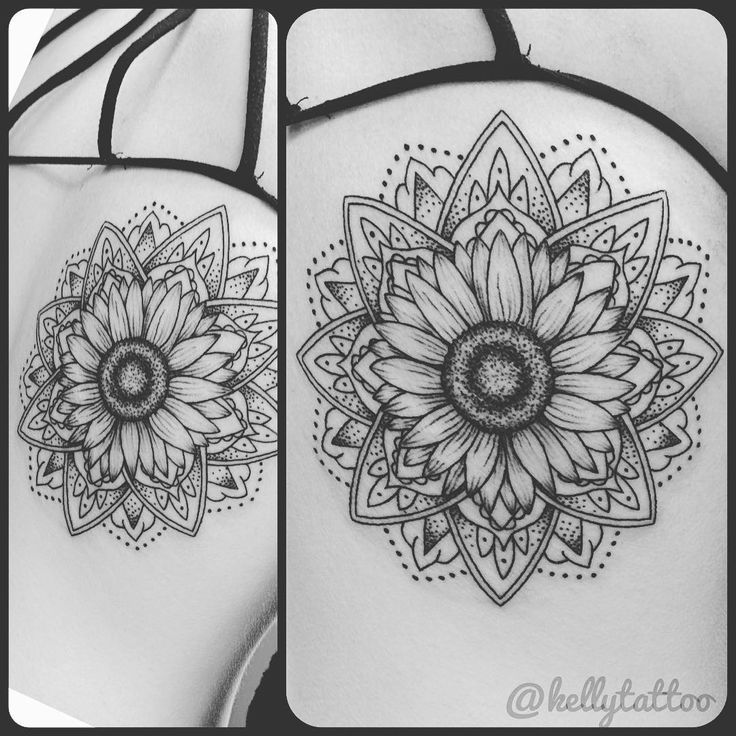 #Sunflower #mandala tattoo I did today on the back below her shoulder blade. I…